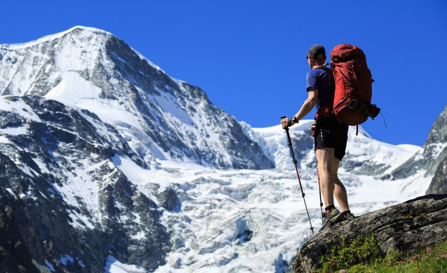 man on the haute route in Switzerland