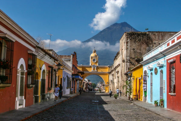 town and mountain in Guatemala